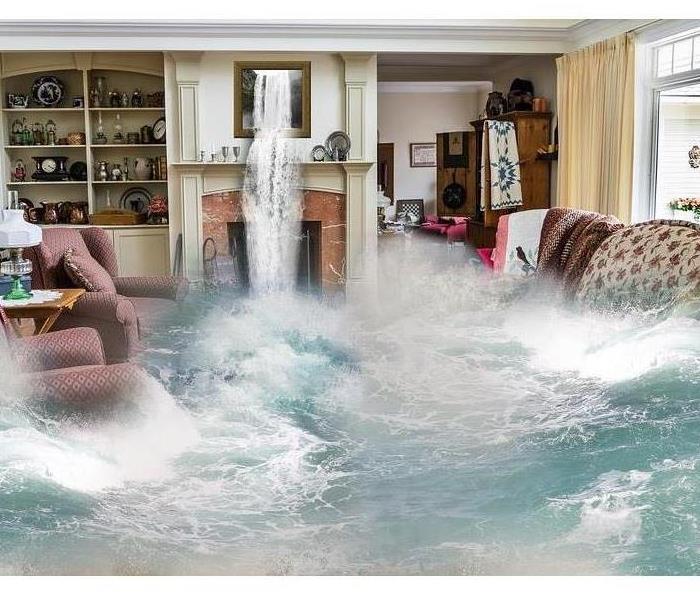 living room with water rushing in from everywhere